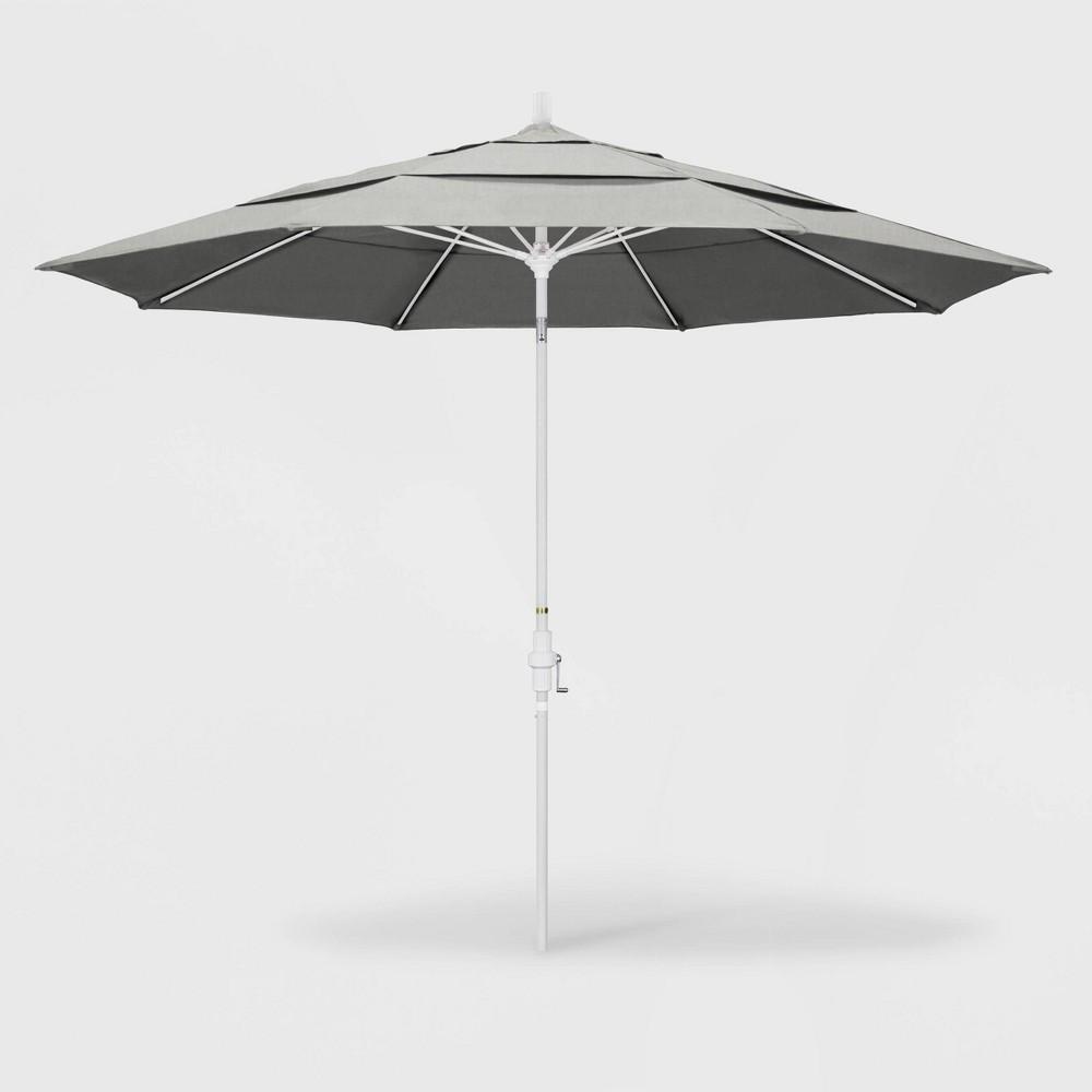 11' Sun Master Patio Umbrella Collar Tilt Crank Lift - Sunbrella Granite - California Umbrella