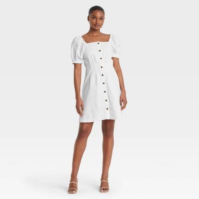 Women's Puff Short Sleeve Denim Dress - Who What Wear™ Bright White
