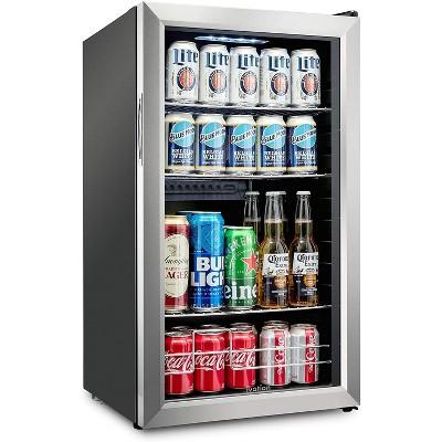 Ivation 126 Can Beverage Refrigerator | Freestanding Ultra Cool Mini Drink Fridge | Beer, Cocktails, Soda, Juice Cooler for Home & Office | Reversible Glass Door & Adjustable Shelving
