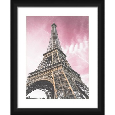 """18"""" x 22"""" Matted to 2"""" Eiffel Tower Picture Framed Black - PTM Images"""
