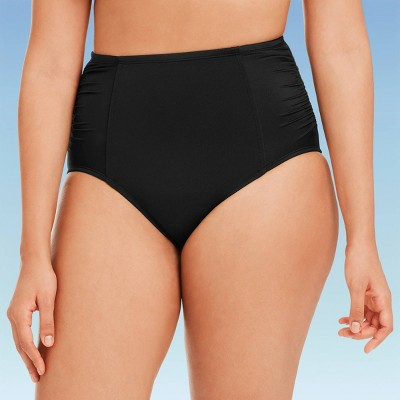 Women's Slimming Control Ruched Side High Waist Bikini Swim Bottom - Beach Betty By Miracle Brands Black S
