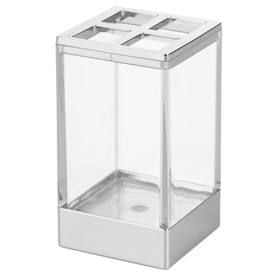 Square Toothbrush Holder Stand Clear/Chrome - iDESIGN