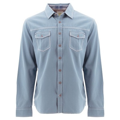 Ecoths Mens Relaxed Fit Long Sleeve Collared Button Down Shirt - Blue Large