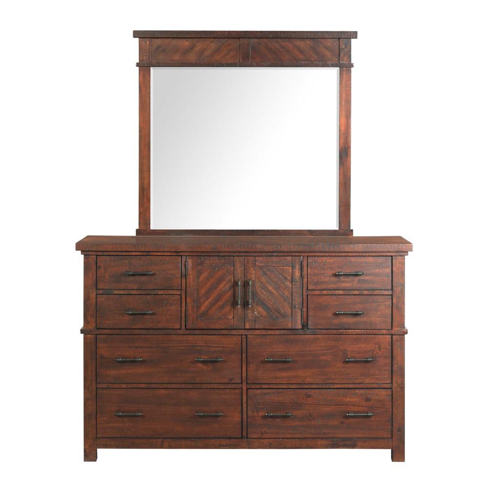 Dex Dresser And Mirror Set Walnut Brown - Picket House Furnishings