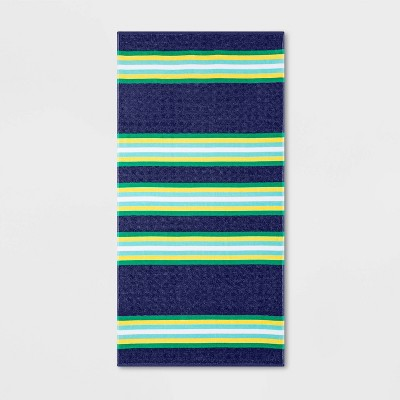XL Striped Beach Towel Navy/Green - Sun Squad™