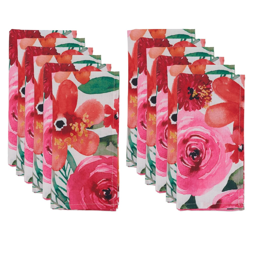 Image of 12pk Polyester Floral Table Napkins Pink - Saro Lifestyle