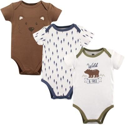 Hudson Baby Infant Boy Cotton Bodysuits 3pk, Bear