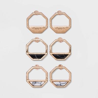 Semi-Precious Stone Inlay Octagon Multi Earring Set 3pc - Universal Thread™