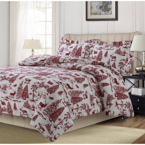 Queen 3pc Mountain Toile Printed Cotton, Red Toile Queen Bedding