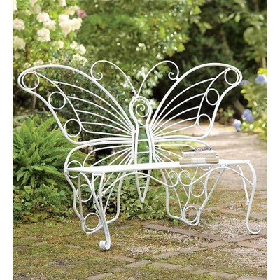 Weather-Resistant White Metal Butterfly Garden Bench