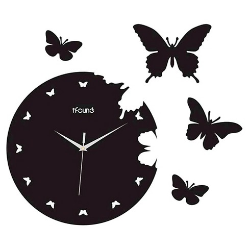 Butterflies Wall Clock Black - Creative Motion Industries® - image 1 of 1