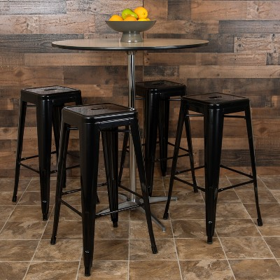 "Emma and Oliver 4 Pack 30"" High Metal Indoor Bar Stool - Stackable Stool"