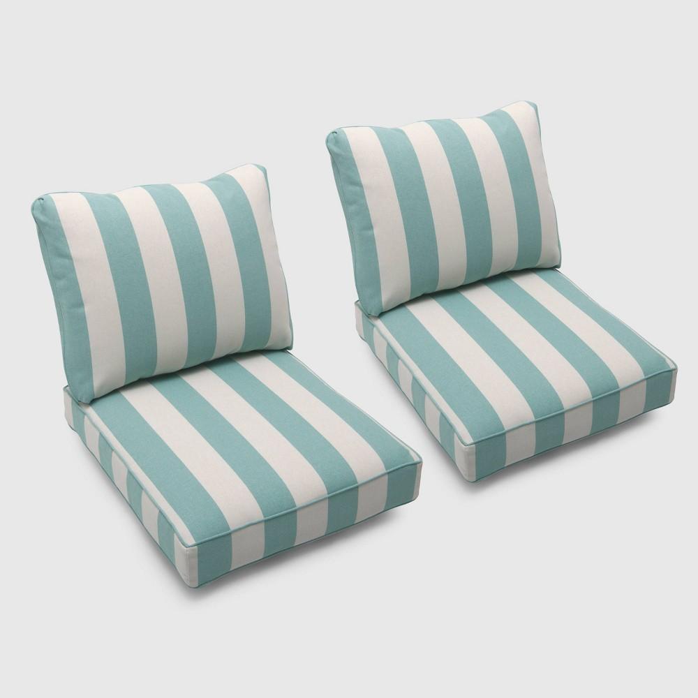 Bar Harbor 2pk Cabana Stripe Loveseat Cushions Turquoise - Threshold Cheap
