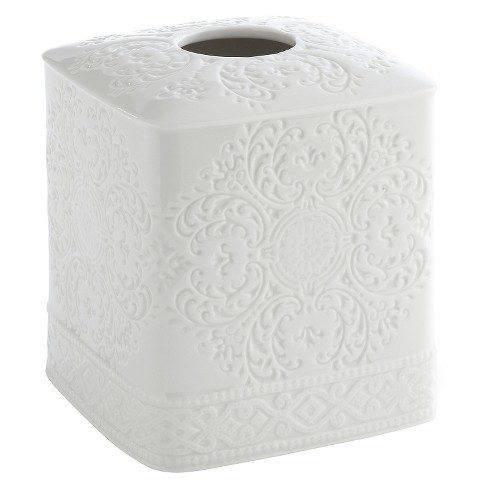 Kassatex Damask Accessories Tissue Holder - White - image 1 of 1