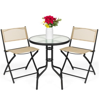 Best Choice Products 3-Piece Patio Bistro Dining Furniture Set w/ Round Textured Glass Table Top, Folding Chairs
