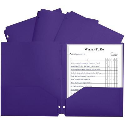 C-Line Poly Folder, 3-Hole Punch, Letter, 2-Pocket, Purple, pk of 25