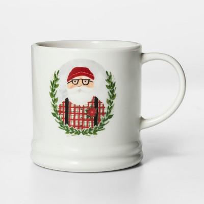 16oz Porcelain Santa Classic Wreath Mug - Threshold™