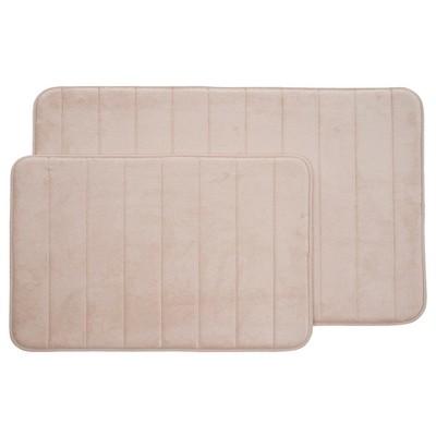 2pc Memory Foam Striped Bath Mat Set Beige - Yorkshire Home