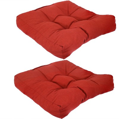 2pk Tufted Indoor/Outdoor Seat and Back Cushions - Red - Sunnydaze Decor
