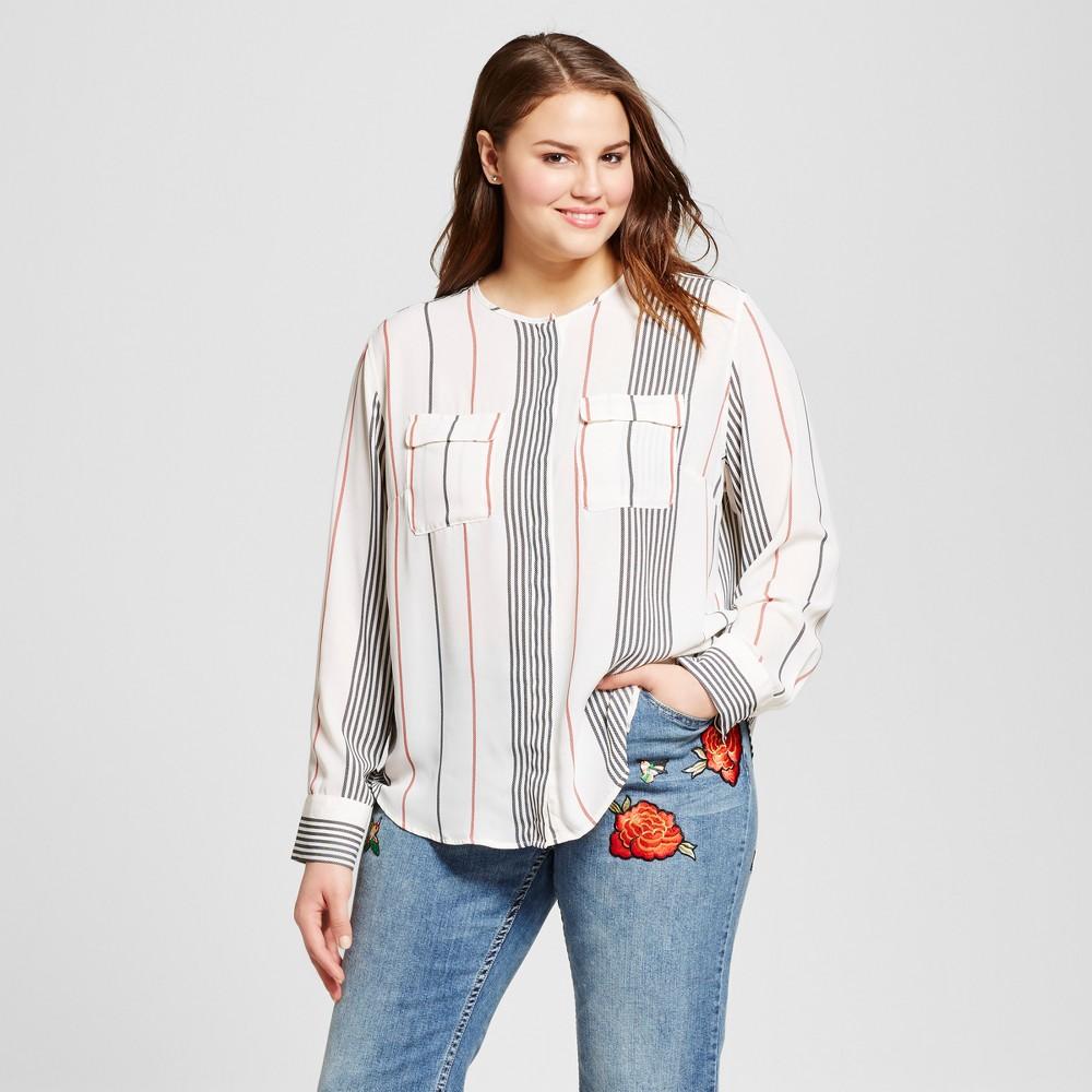 Women's Plus Size Long Sleeve Collarless Button-Up Blouse - Who What Wear Orange Stripe 3X