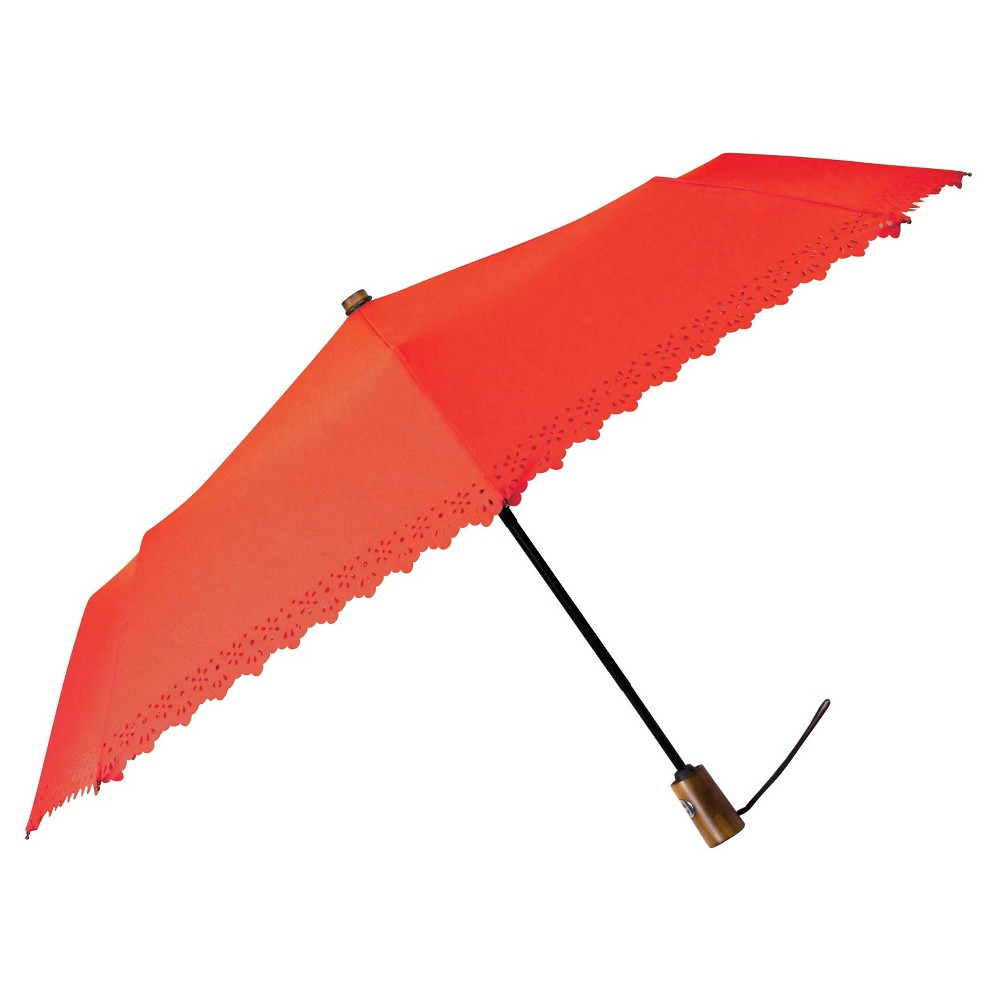 Eyelet Auto Open Umbrella - Salmon (Pink)