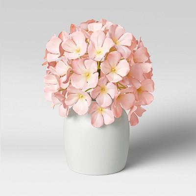 """10"""" x 8"""" Artificial Hydrangea Arrangement in Glass Vase Pink - Threshold™"""