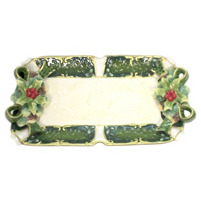 "Tabletop 10.25"" Holly Tray Christmas Dinner Cosmos Gifts Corp.  -  Serving Platters"