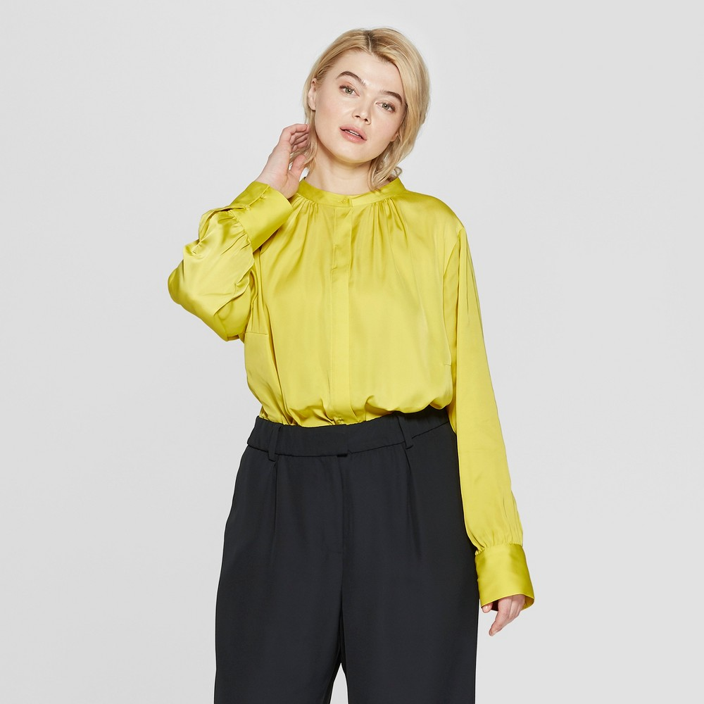 Women's Plus Size Long Sleeve Button-Up Blouse - Prologue Lime Yellow 1X
