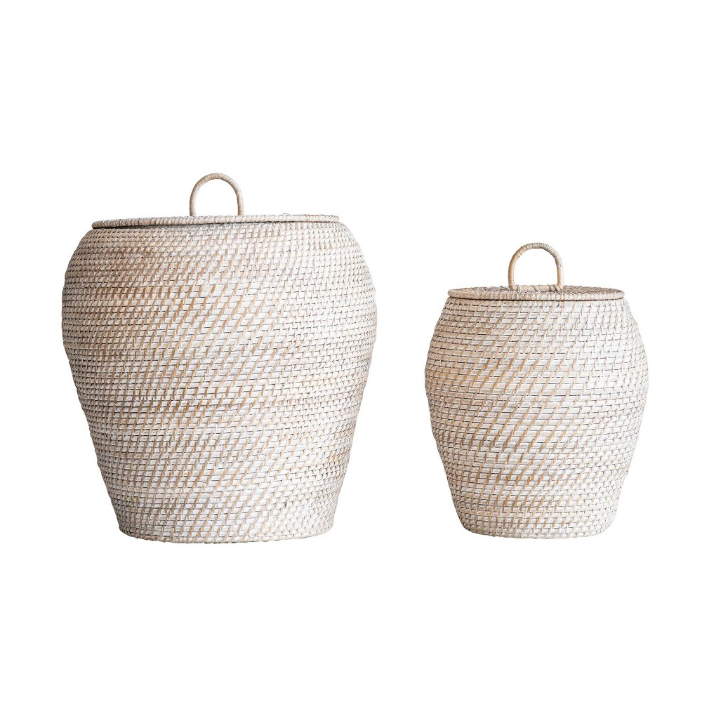 2pc Rattan Basket Set with Lids White - 3R Studios, Deep Charcoal Opaque