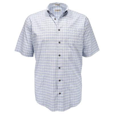 Foxfire Men's Big & Tall Blue Check Button Down Sport Shirt