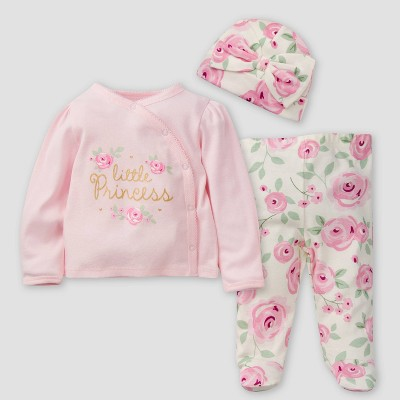 Gerber Baby Girls' 3pc Floral Take Me Home Top and Bottom Set - Pink/Off-White 0-3M