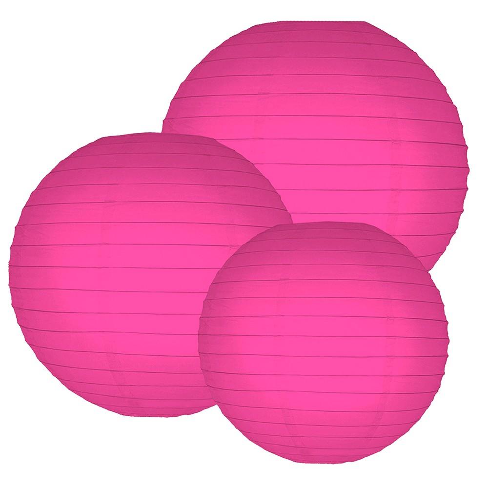 6ct Lumabase Fuchsia Multi Size 12 14 16 Paper Lanterns, Pink