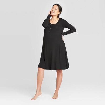 Maternity Long Sleeve Nursing Henley Dress - Isabel Maternity by Ingrid & Isabel™ Black XL