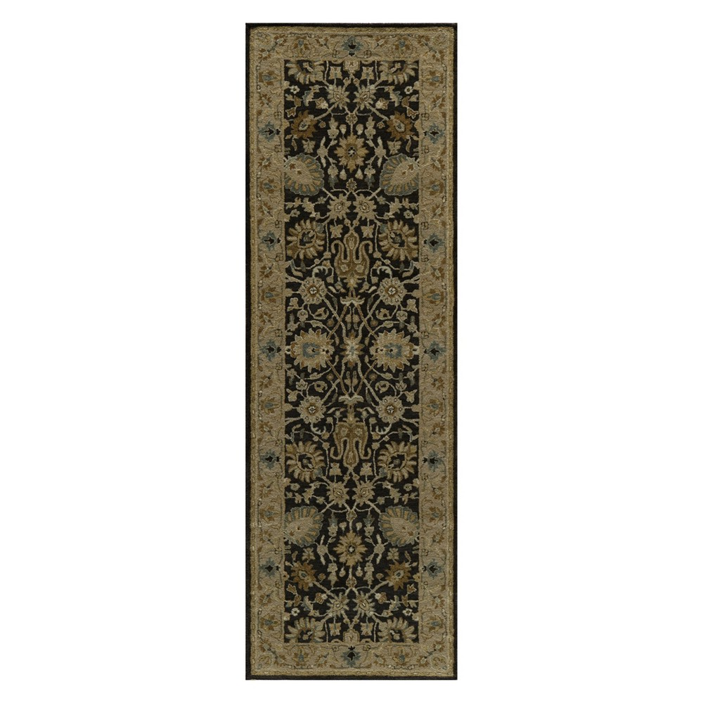 2'6X8' Floral Tufted Runner Charcoal (Grey) - Momeni
