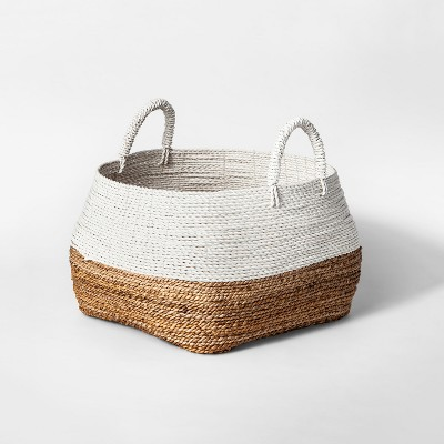 19.7  x 18.5  Abacá Basket With Handles Natural/White - Threshold™