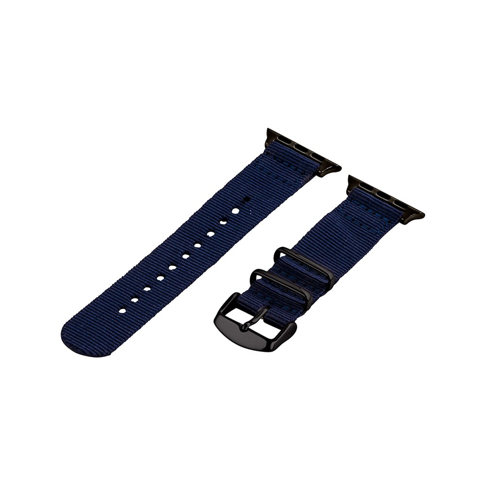Clockwork Synergy Classic Nato 2 Apple Watch Band 38mm with Black Adapter - Navy Blue, Adult Unisex Customize the look of your timepiece with the Classic Nato 2-Piece Apple Watch Band from Clockwork Synergy. Crafted from high-quality nylon, this navy watchband ensures long-lasting durability without sacrificing comfortable wear. With 11 adjustability holes, you'll get the perfect custom fit so your watch stays in place all day. Whether you show off the sleek navy design that pairs well with any look, or you switch it out to complement a specific outfit, you'll love sporting a unique look that complements your style. Color: Black. Gender: Unisex. Age Group: Adult.