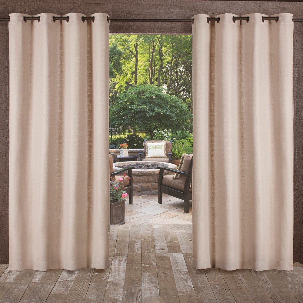 Delano Heavy Textured Grommet Top Window Curtain Panel Pair Taupe (Brown) 54