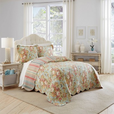 Floral Stripe Spring Bling Bedspread Set 3pc - Waverly®