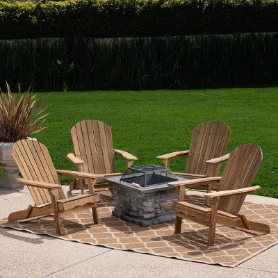 Marrion 5pc Acacia Wood Adirondack Chair and Fire Pit Set - Christopher Knight Home