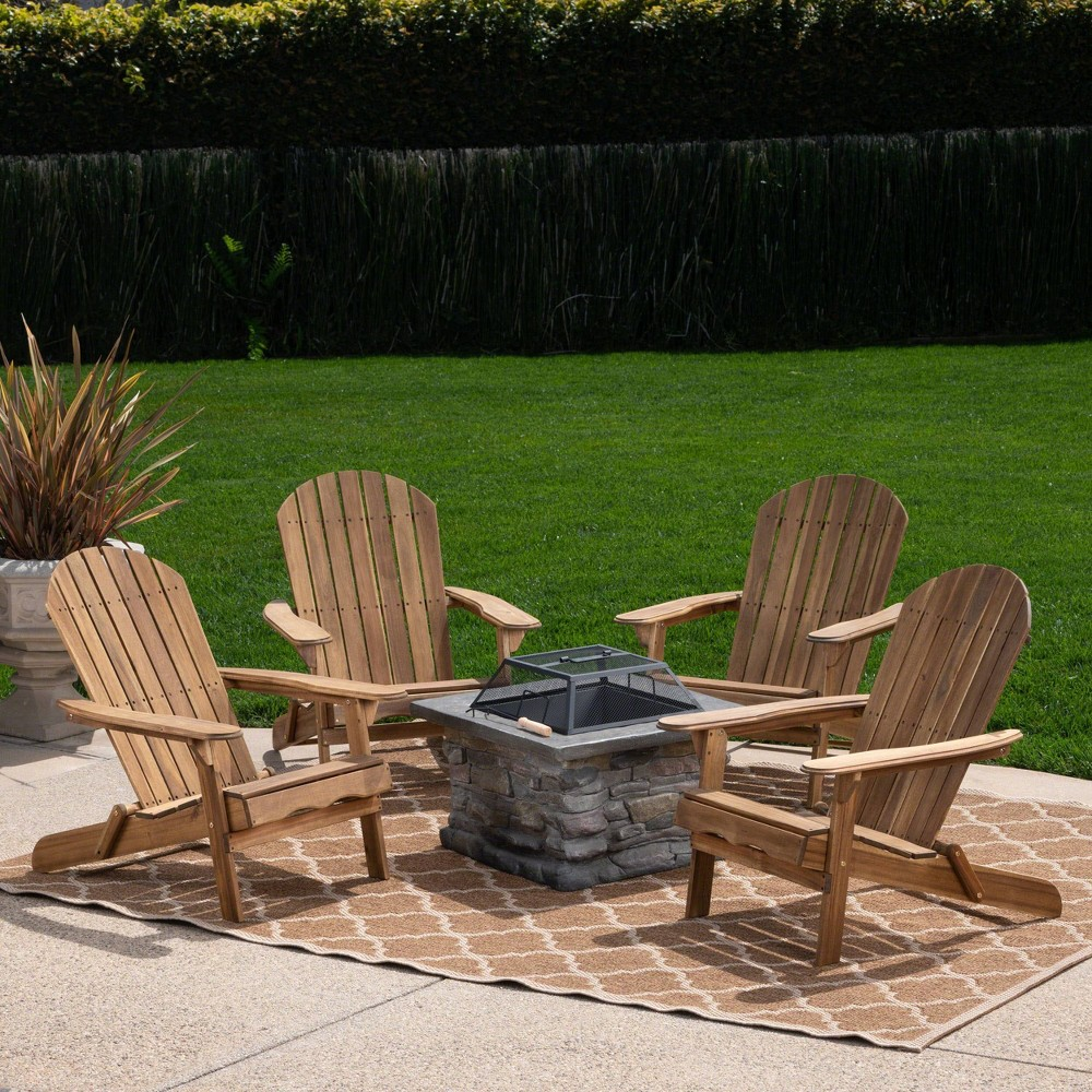 Marrion 5pc Acacia Wood Adirondack Chair and Fire Pit Set - Natural - Christopher Knight Home
