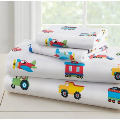 Twin Trains with Planes and Trucks 100% Cotton Sheet Set - WildKin