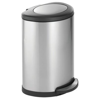 mDesign Large Metal Swing Top Step Trash Can Garbage; 45 Liter, Removable Liner