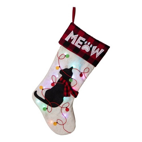 Cat Christmas Stockings.Cat Led Embroidered Linen Christmas Stocking Glitzhome