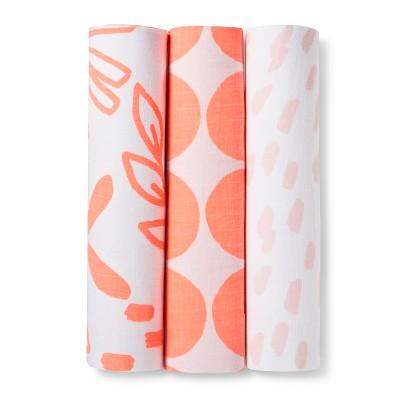 Muslin Swaddle Blanket Pink Lemonade 3pk - Cloud Island™