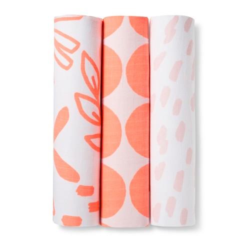 Muslin Swaddle Blanket Pink Lemonade 3pk - Cloud Island™ - image 1 of 2