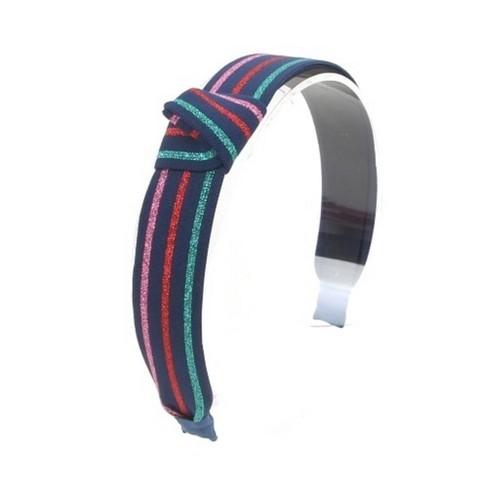 Girls' Shimmer Stripe Knot Headband - Cat & Jack™ Navy - image 1 of 1