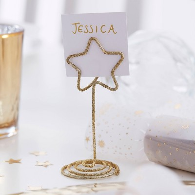 Metal Star Shaped Place Card Holder Gold