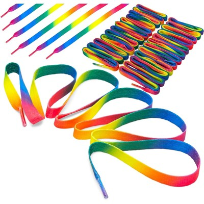 Zodaca 12 Pack Ombre Rainbow Flat Shoe Laces (47 in)