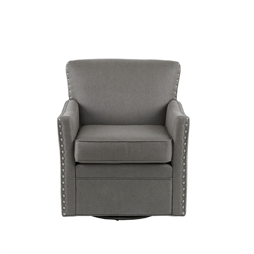 Medora Herringbone Texture Swivel Chair Dark Gray