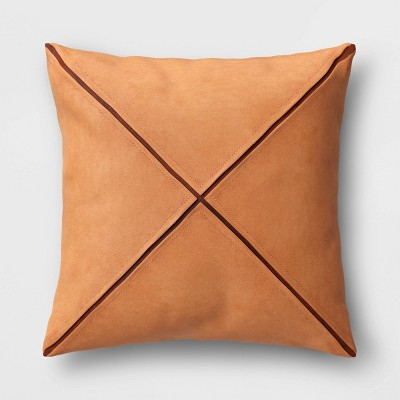 Faux Suede Geometric Square Throw Pillow Brown - Project 62™